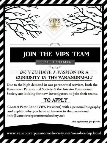 Paranormal Investigators required for BC's longest running team - Vancouver Paranormal Society